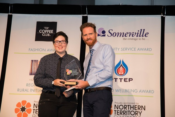 Northern Territory Young Achiever Award Community Services winner Phoebe Hooper with Somerville's CEO Lawson Broad