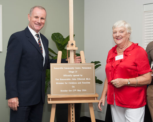 The Hon John Elferink MLA officially opening the community centre with Somerville Community ServicesVice President, Daphne Read